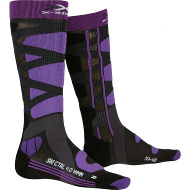 X-Socks Ski Control 4.0 Women Charcoal Melange/Purple